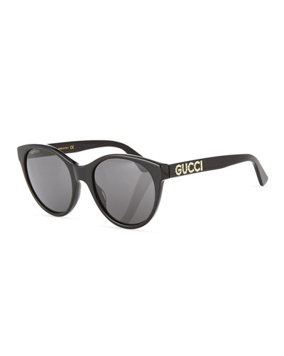 Acetate Cat-Eye Sunglasses with Crystal Logo