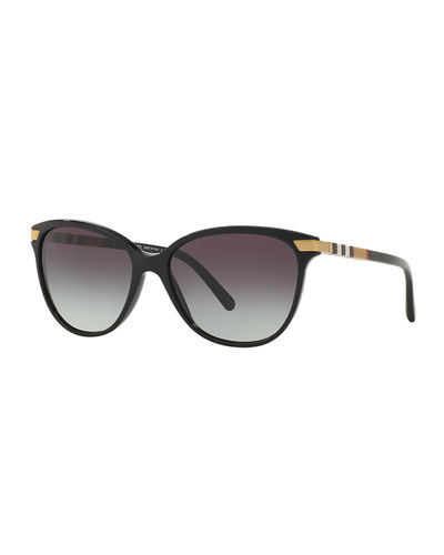 aeb43a2d35e5 Burberry Check-Trim Cat-Eye Sunglasses