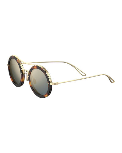 Mirrored Round Metal Sunglasses w/ Leaf Motifs