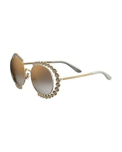 Round Mirrored Sunglasses w/ Stone Stations