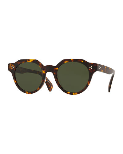 Irven Faceted Round Acetate Sunglasses