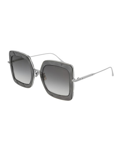 Quilted-Trim Square Gradient Sunglasses