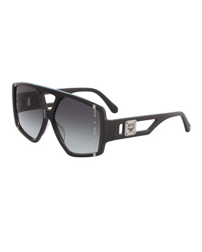 Acetate Metal-Trim Aviator Sunglasses