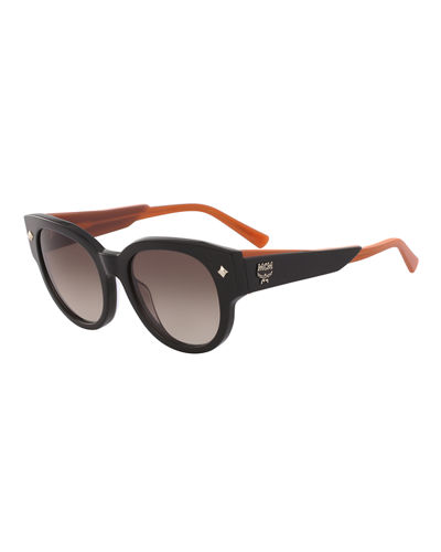 Round Acetate Sunglasses w/ Leather Wrapped Arms