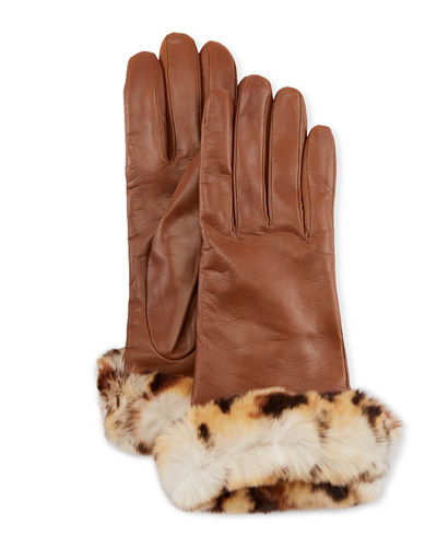 Leather Gloves w/ Fur Cuffs