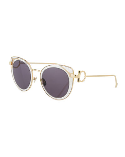 Gancio Cat-Eye Metal Sunglasses