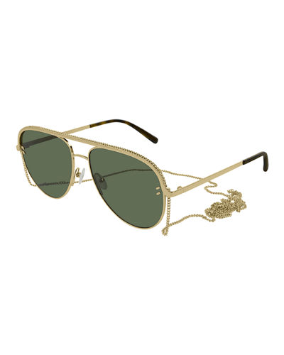 71bf702930d Monochromatic Metal Aviator Sunglasses w  Chain Neck Strap Quick Look.  GOLD. Stella McCartney