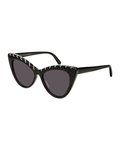 Glittered Acetate Cat-Eye Sunglasses w/ Woven Chain Detail