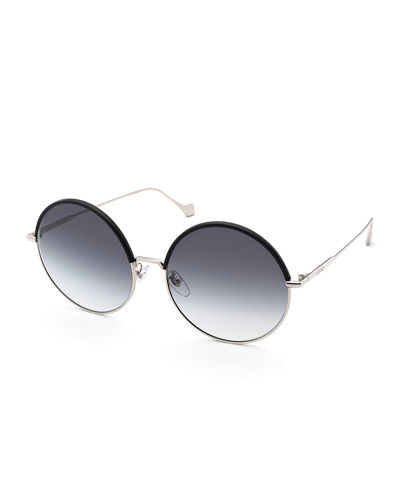 Leather Rimmed Round Sunglasses