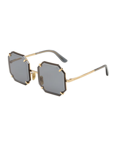 Rimless Beveled Square Metal Sunglasses