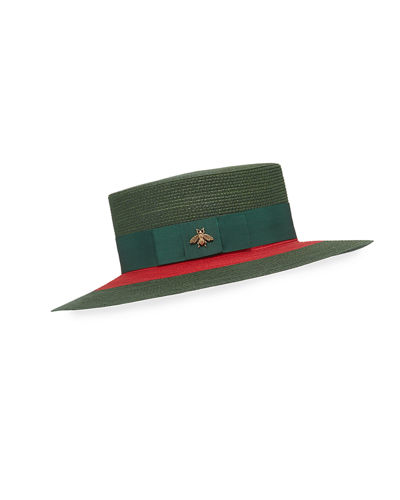 Green & Red Woven Hat w/ Bee Detail