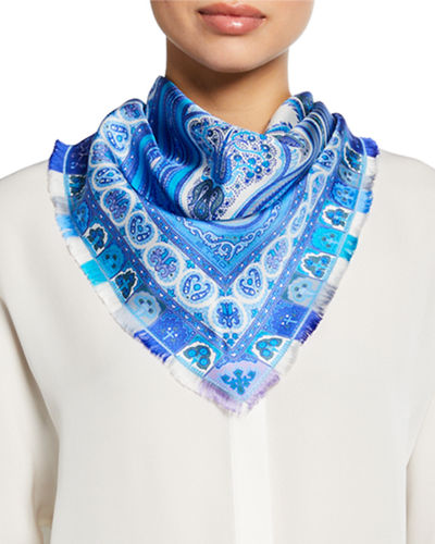 Paisley Triangle Silk Scarf