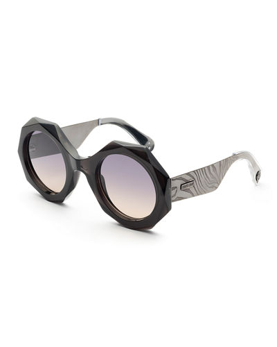 Faceted Round Mirrored Sunglasses