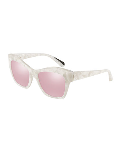 Nuages Marbleized Acetate Square Mirrored Sunglasses