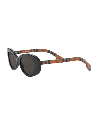Oval Check-Arms Sunglasses