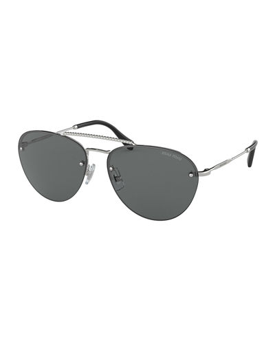 a5709bdff165 Rimless Mirrored Aviator Sunglasses Quick Look. Miu Miu