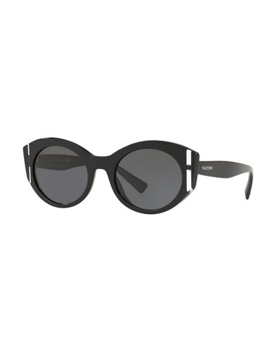 Two-Tone Acetate Oval Sunglasses