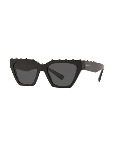 Rockstud Acetate Rectangle Sunglasses