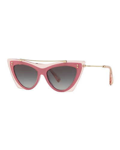 Acetate & Metal Brow Bar Cat-Eye Sunglasses
