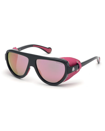 Mirrored Wrap Sunglasses w/ Leather Side Blinders