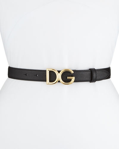 Leather Belt w/ Logo Buckle