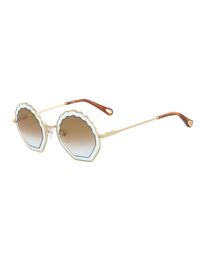 6d070b35b Chloe Tally Scalloped Round Gradient Sunglasses
