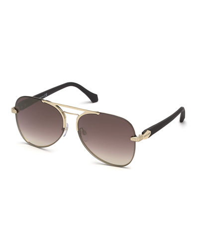Semi-Rimless Metal Aviator Sunglasses