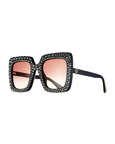 Oversized Square Transparent Sunglasses w/ Crystal Star Embellishments