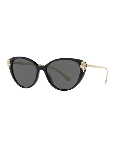 6470c5586e3f Versace Crystal Embellished Acetate & Metal Cat-Eye Sunglasses