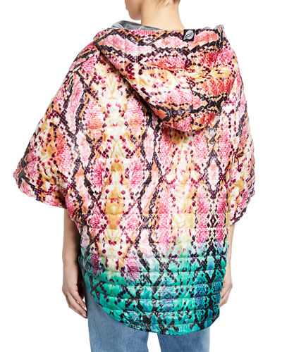 The Heroine Quilted Python-Print Poncho