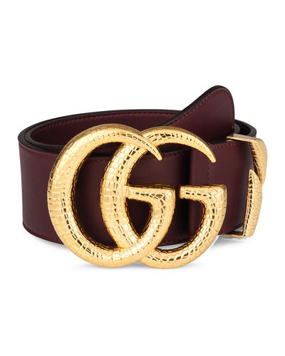Smooth Leather Belt w/ Double G Buckle