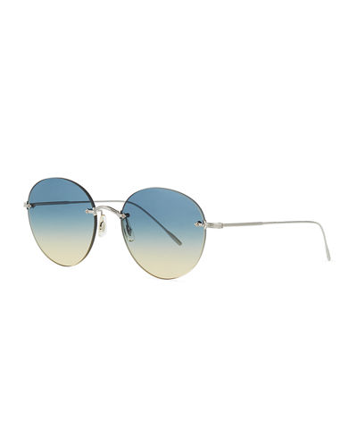 Oval Rimless Metal Engraved Sunglasses