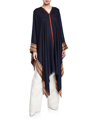 cd138ba2aa3b2 V-Neck Poncho w  Multi-Stripe Hem