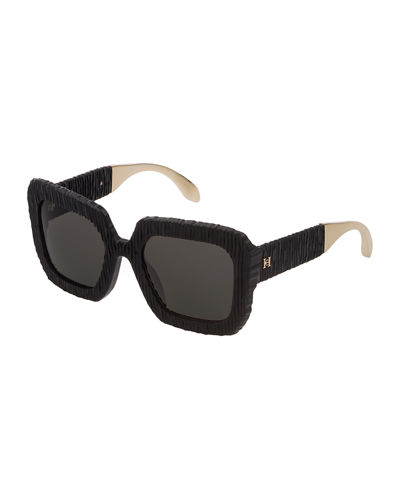 Square Textured Acetate Sunglasses