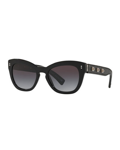 Rockstud Acetate Butterfly Sunglasses w/ Leather Wrapped Arms