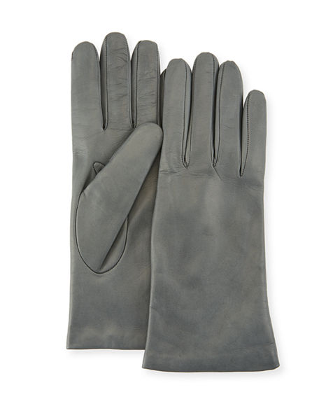 Portolano Gloves Cashmere-Lined Napa Leather Gloves, IRON GRAY