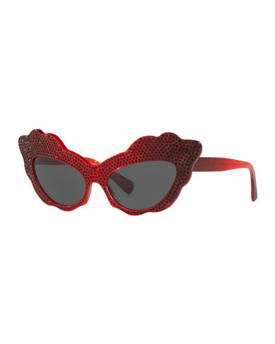 Aureta Scalloped Cat-Eye Swarovski Crystal Sunglasses