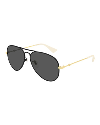 Two-Tone Metal Aviator Sunglasses