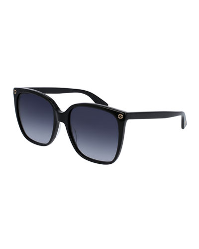 Square Acetate Sunglasses w/ Interlocking G Detail