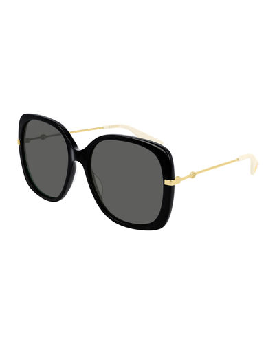 Acetate & Metal Rectangle Sunglasses