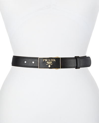 Square Logo-Buckle Leather Belt