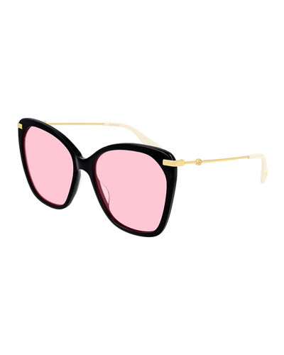 Acetate & Metal Butterfly Sunglasses