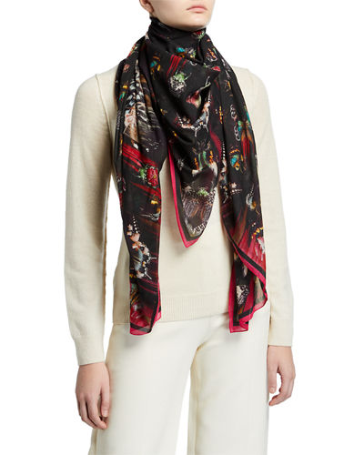 Romantic Pareo Butterflies Print Silk Scarf