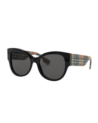 Butterfly Acetate Sunglasses w/ Check Arms