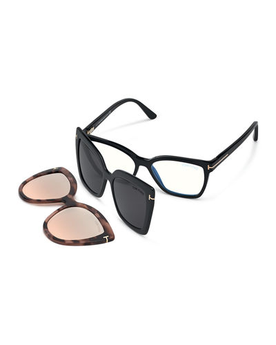 Square Optical Frames w/ Two Magnetic Sunglasses Clips