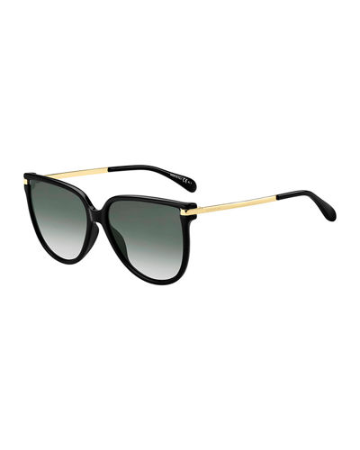 Propionate & Metal Round Sunglasses