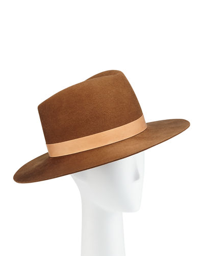 Stewart Wool Fedora Hat w/ Leather Hat Band