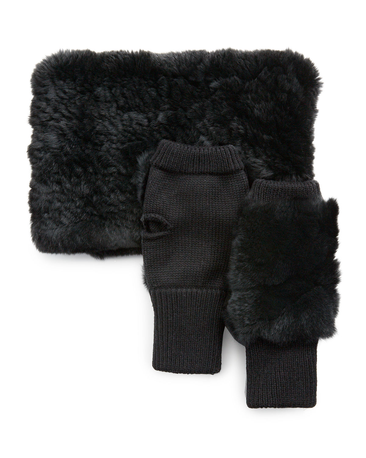 Jocelyn Accessories FUR COWL SCARF & MITTEN SET