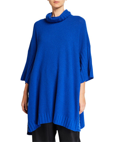 3/4-Sleeve Roll-Neck Poncho Sweater