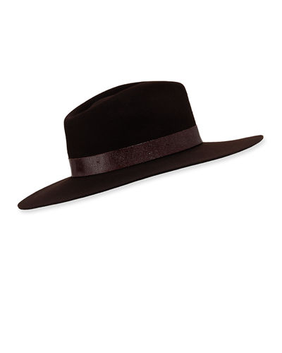 Kacy Wool Fedora Hat w/ Leather Trim
